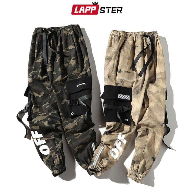 LAPPSTER Men Streetwear Ribbons Cargo Pants 2020 Mens Camouflage Joggers Hip Hop Korean Fashions Designer Camo Sweatpants INS 4