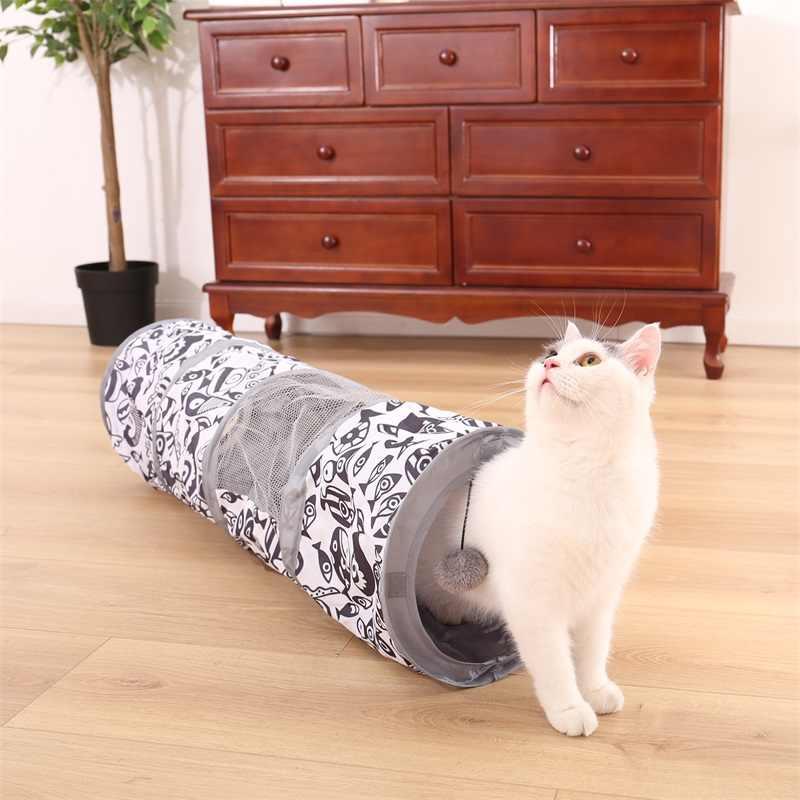 חיות מחמד חתול מנהרת צעצוע חתול חתלתול דגי דפוס רשת מתקפל אינטראקטיבי חתול מנהרת צעצוע עם משחק כדור אימון עבור ארנב