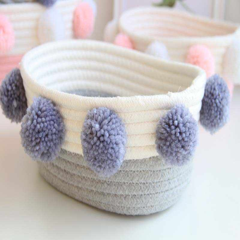 Knitted Desktop Storage Baskets with Ball Dirty Clothes Underwear Bra Organizer Hamper Pink/Grey