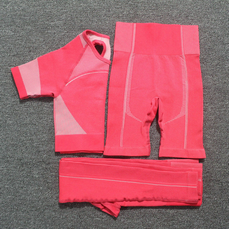 3PCS Seamless Yoga Set Women Short Sleeve Crop Tops Fitness Shorts Sports Wear Gym Leggings Workout Clothing Athletic Sport Set