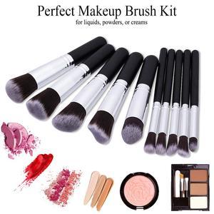 Image 2 - Conjunto de brochas de maquillaje 10 uds, brochas profesionales para maquillaje en polvo, brochas para maquillaje, cosméticos, pelo sintético suave