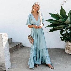 Женское пляжное платье-макси в стиле бохо, винтажный сарафан с короткими рукавами и высокой талией, вечерние длинные платья для лета