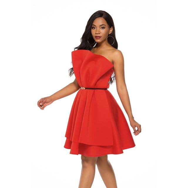 Pleated Tops Off Shoulder Backless Dress 2