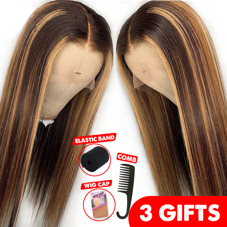 13*6 Deep Part Lace Front Human Hair Wig Straight Highlight Color Hair Pre Plucked Hair Line Bleached Knots Brazilian Remy Hair