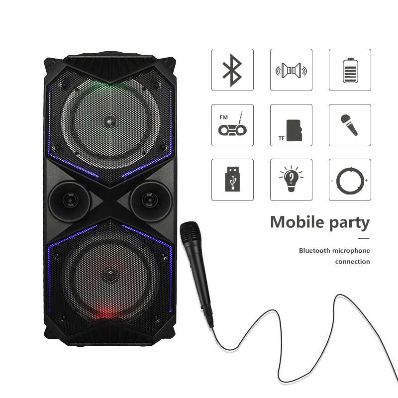 Big Power Bluetooth Speaker Wireless Stereo Subwoofer Berat Bass Speaker Musik Player Penopang Mikrofon FM Radio TF FM Radio