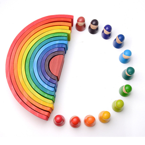 Image 5 - Baby Toys Large size Rainbow Stacker Wooden Toys For Kids Creative Rainbow Building Blocks Montessori Educational Toy Children