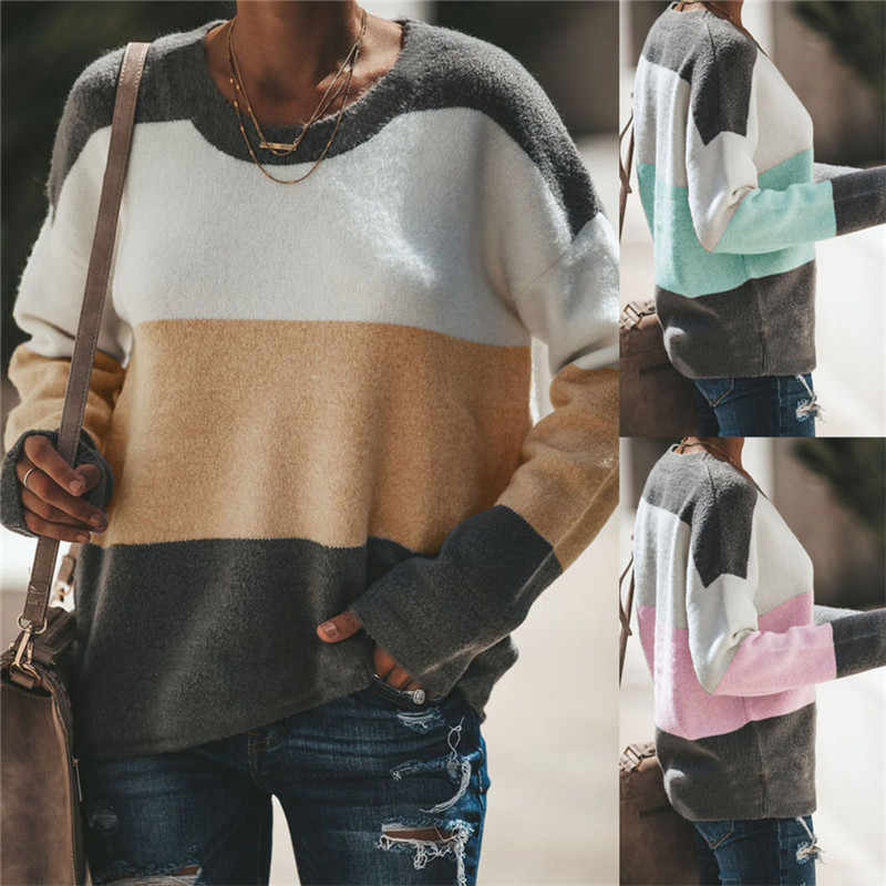Women Long Sleeve T-Shirt Color Matching Patchwork Design O-Neck Top Lady Autumn Loose Casual Shirts for Streetwear