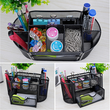 Multi-function MetalDesktop Pen Holder Office School Storage Case Clear White Black Plastic Box Desk Pen Pencil Organizer
