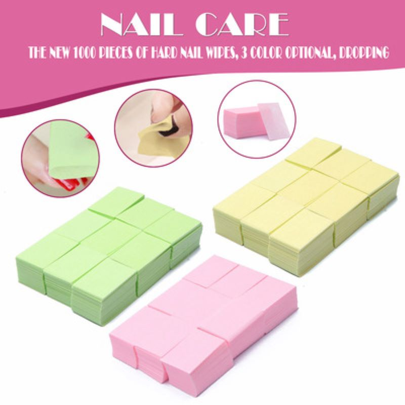 1000 Pcs=1 Pack Lint-Free Wipes Napkins Nail Polish Remover Gel Nail Wipes Nail Cutton Pads Manicure Pedicure Gel Tools