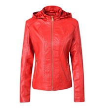 Women Faux Leather Fur Motorcycle Jacket 2019 Winter Hooded Zippered Coats Thicken Females Coat PU Lining Leather Aviator Jacket detachable faux fur hood zippered padded jacket