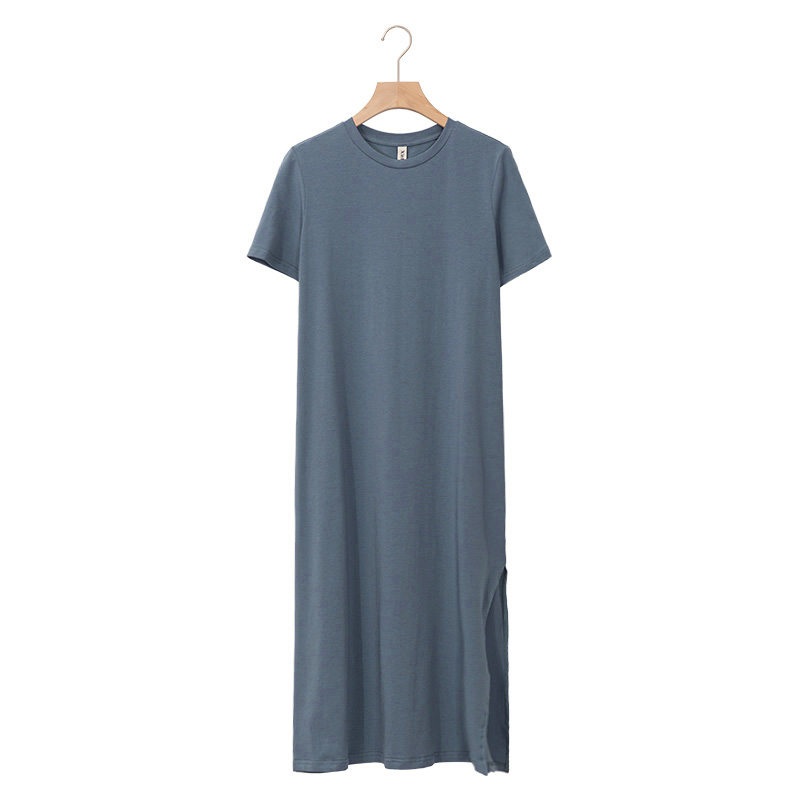 94% Cotton 6% Spandex Dress Casual Loose Short Sleeve O-Neck Split Out Women Dresses Plus Size Vestido Sales M30465