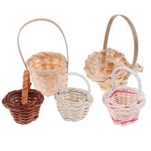 Basket Toys Dollhouse Food-Flower Mini Cute 2pcs Miniature-Decorations Rattan-Frame Vegetable