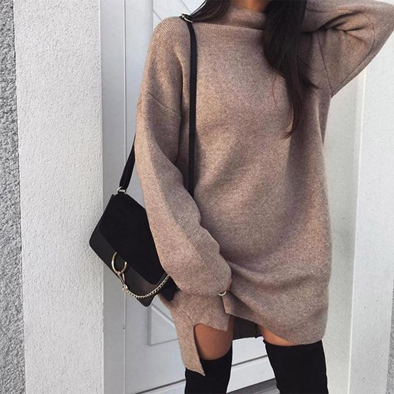 New Winter Large Size Loose Knit Turtleneck Split Dress Sexy Puff Sleeve Solid Color Long Sweater Turtleneck Long Sleeve Dress
