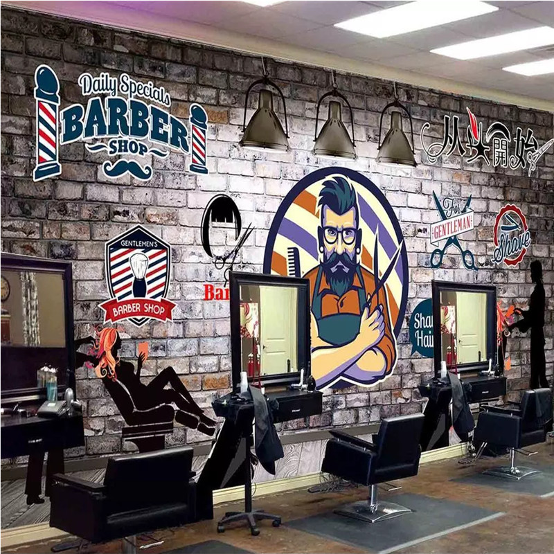 Custom Wall Paper 3D European Hand-painted Retro Barber Shop Hair Salon Background Mural Wallpaper 3D Industrial Decor Murals