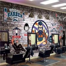 Papel de pared personalizado 3D europeo pintado a mano Retro barbería peluquería Fondo Mural 3D decoración industrial murales