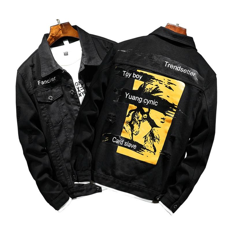 6 design Fashion Harajuku Retro Rock vintage Denim jacket men boyfriend punk Patch Banner streetwear cowboy hiphop style