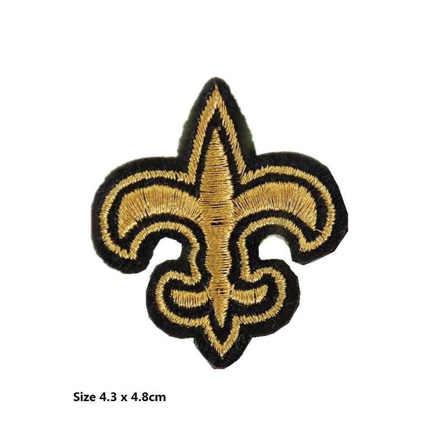 Iron on Large Black and Gold Fleur De Lis Cross Applique Patch
