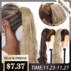 S-noilite Long Wavy Clip In Ponytail Hair Extension With Braids Hair Wrap Around Synthetic Fake Tail Hair Hairpiece For Women