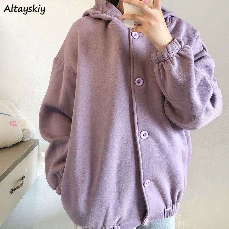 Hoodies Women Single Breasted Zip Up Hooded Simple Loose Bf Womens Students Korean Style Medium-long Casual Fashionable Chic New