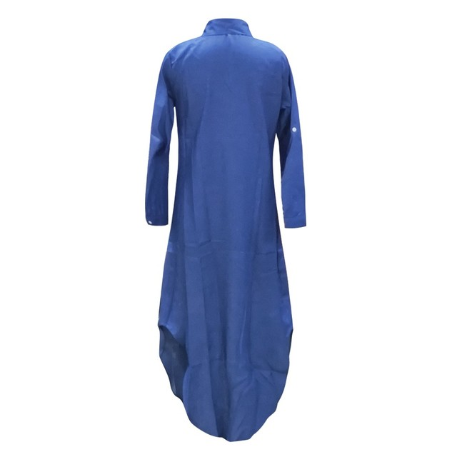 Fashion Women Korean Denim Dress Plus Size Summer Dress Lapel Split Sexy Long Maxi Jeans Dress Vestidos De Mujer 2021 #T2Q 5