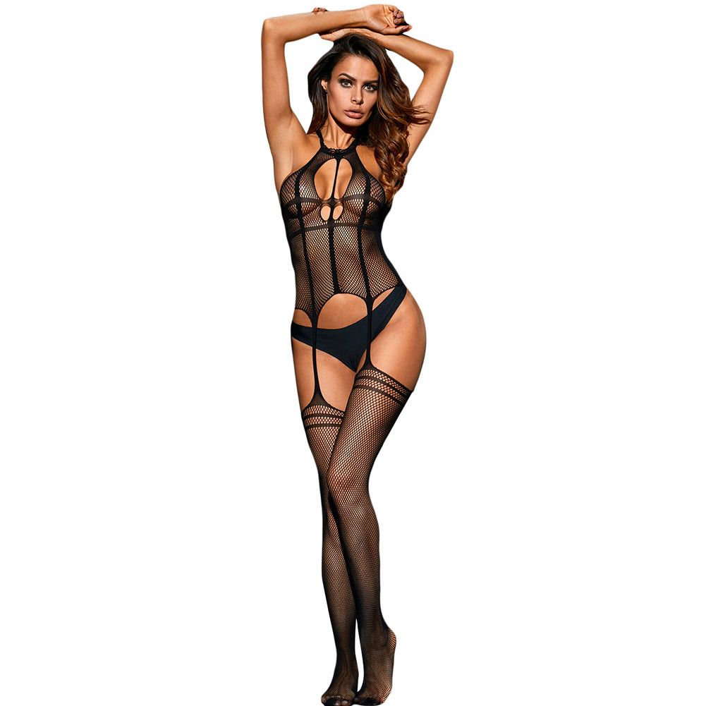 Shi Ying Sexy Lingerie New Style Hollow Out Fishnet High Elastic Midnight Passion Sexy Body-stocking Pajamas Women's 79958