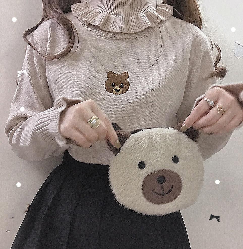 Harajuku Cute Bear Girl Turtleneck Sweater Vintage High Neck Kawaii Female Knitted Pullover Women Ruffle Slim Jumper White Black