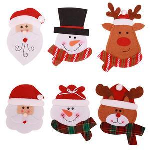 Image 3 - Держатель для столовой посуды в виде кармана, Рождественское украшение, праздничные украшения в виде снеговика, Санта, эльфа, оленя, бесплатная доставка