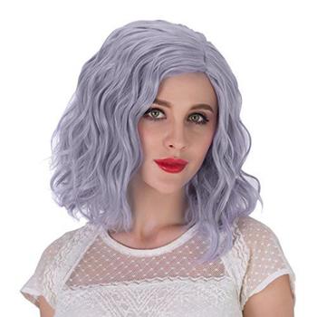 AIMEYA peruka krótka żaroodporne włosy syntetyczne peruki typu Front Lace wolna część fioletowy peruki krótki Bob styl koronkowe peruki dla kobiet tanie i dobre opinie Wysokiej Temperatury Włókna Luźne fale 1 sztuka tylko Jasny brąz 150 Średnia wielkość Swiss koronki Purple 12-16inches
