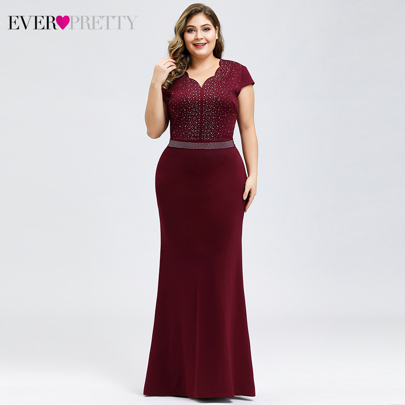 Plus Size Burgundy Evening Dresses For Women Ever Pretty EP07623BD Mermaid V-Neck Beaded Elegant Party Gowns Vestido Comprido