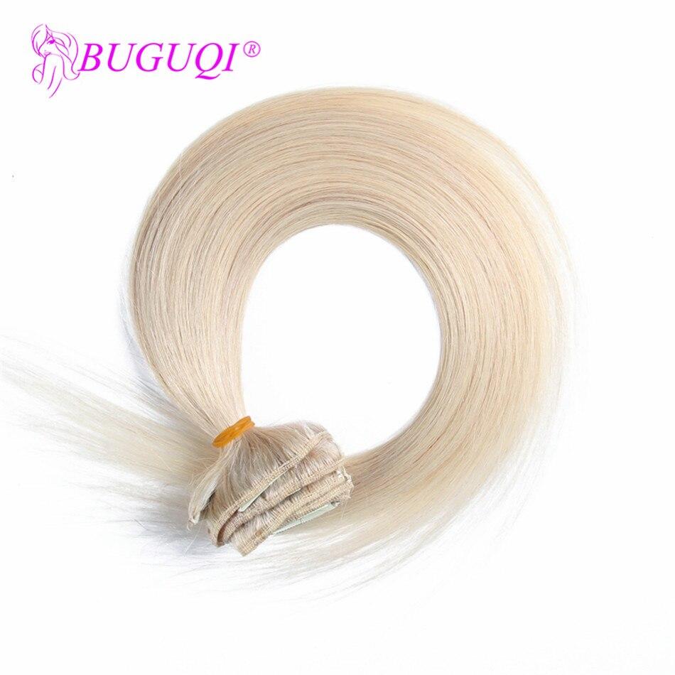 BUGUQI Hair Clip In Human Hair Extensions Mongolian #24 Remy 16- 26 Inch 100g Machine Made Clip Human Hair Extensions