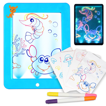 3D Light Up Drawing Board Sketchpad Tablet Creative Kids Pen Gift LEDs Lights Glow Art Drawing Toys For Kids Art Write Learning tianfour 2018 creative toys 3d printing pen 120m 1 75mm abs smart 3d drawing pens paper model drawing board christmas gift toys