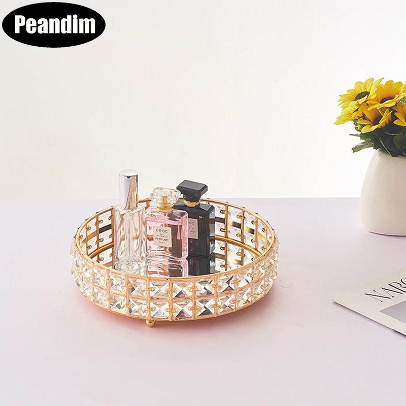 Fairy dim-présentoir à gâteaux en cristal doré   Miroir présentoir à Cupcake, plateau de maquillage, outils de rangement pour événement mariage, anniversaire, maison, plateau de rangement, décor