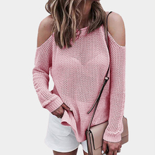 Women Solid Knitted Sweater Casual Long Sleeve Off Shoulder Pullovers  Autumn Loose Hollow Out Thin Sweaters qingteng casual knitted long pullovers sweater women pockets irregular hem batwing loose prue cashmere long sweaters women dress