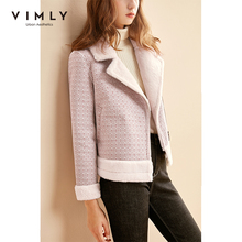 Wool Coat Pocket Plaid Zipper Female Thicken Vintage Winter Women Lapel Vimly 30251 Faux-Lamb