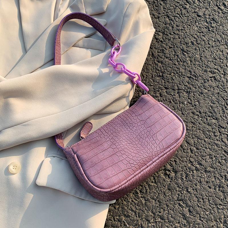 Vintage Crocodile Pattern Chain Women Underarm Handbags New Fashion Design Ladies Small Shoulder Bag Girls Party Baguette Purse