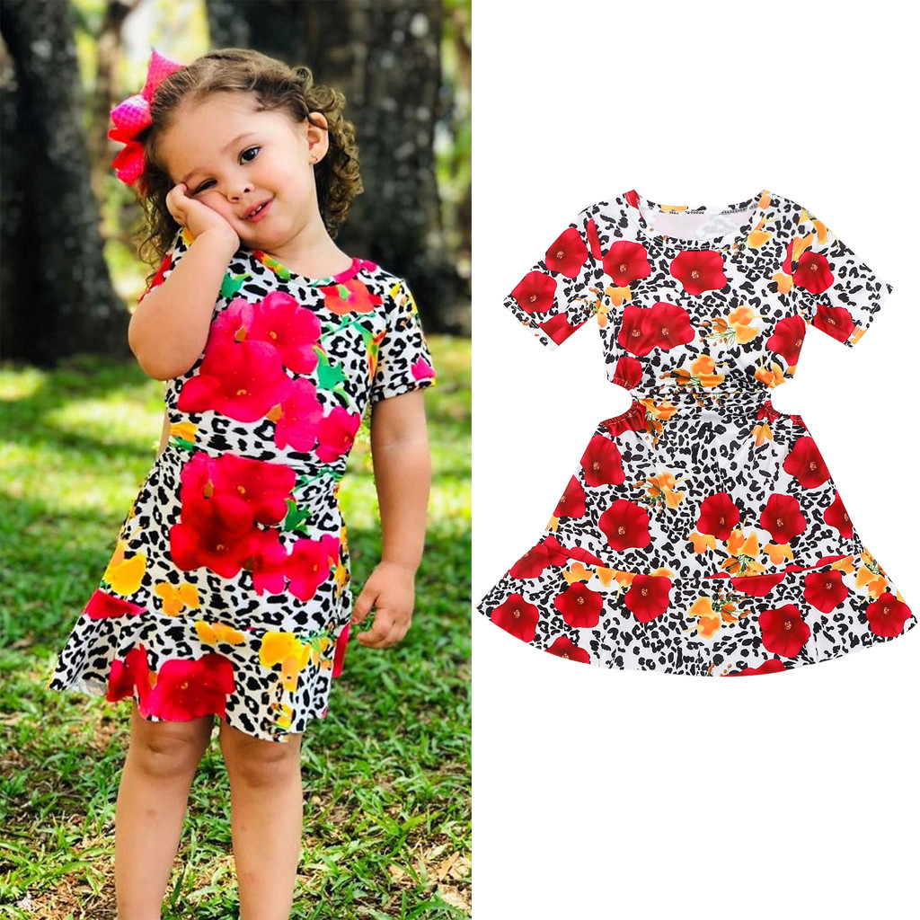 Summer Toddler Kids Baby Girls Leopard Printing Short Sleeveless Dress Clothes