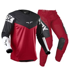 2021 NAUGHTY FOX Red/Black Motocross Racing 180 Revn Jersey Pants Men's MX/ATV Dirt Bike Offroad Riding Gear Combo