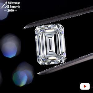 Image 5 - 11*8mm Smaragd Cut S925 Sterling Silber Ring SONA Diamant Halo Feine citrin sapphire amethyst rubin farbigen diamanten