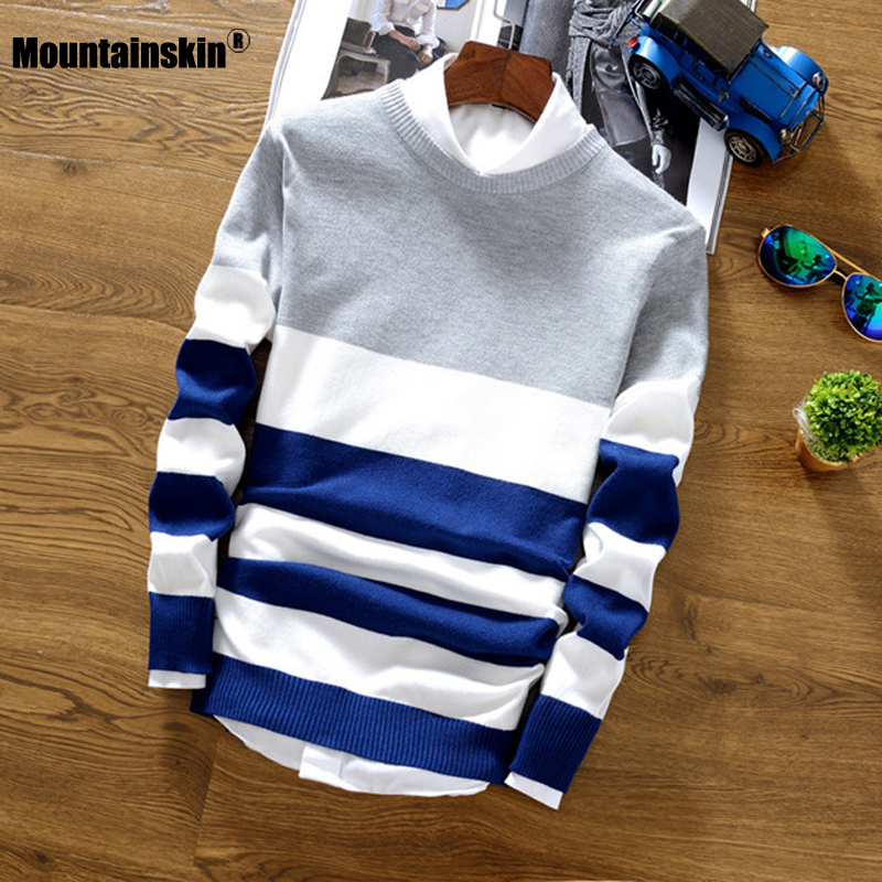 Mountainskin 2019 Autumn Winter Wool Sweater Men Slim Knitted Comfort Pullover Men Casual Striped Warm Tee Brand Clothing SA788