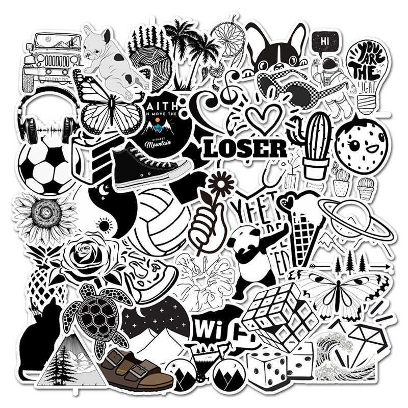 50pcs Black And White Cartoon Stickers Kids Luggage Notebook Laptop Sticker Skateboard Suitcase Decals For Computer Sticker