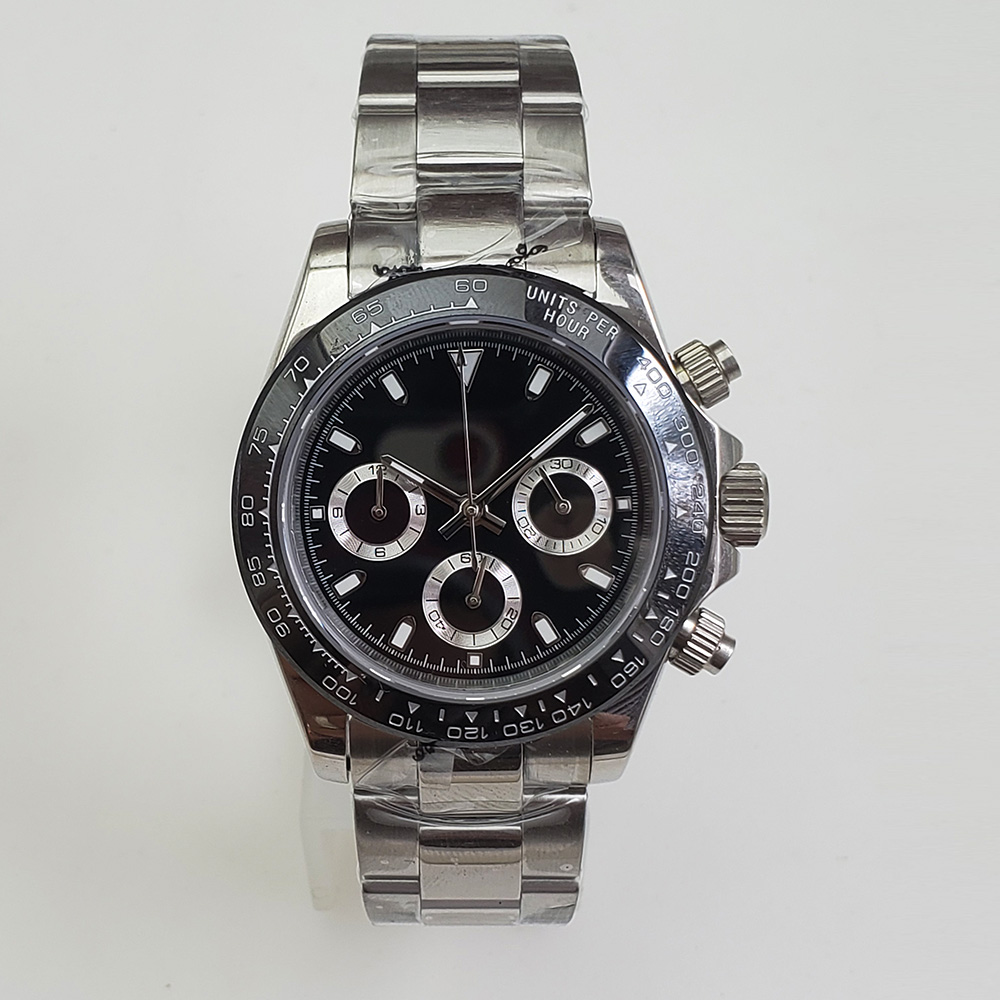 Chronograph Quartz Watch Fashion 39mm Sapphire Glass Silver Case Sterile Dial 316L Stainless Steel Bracelet A5