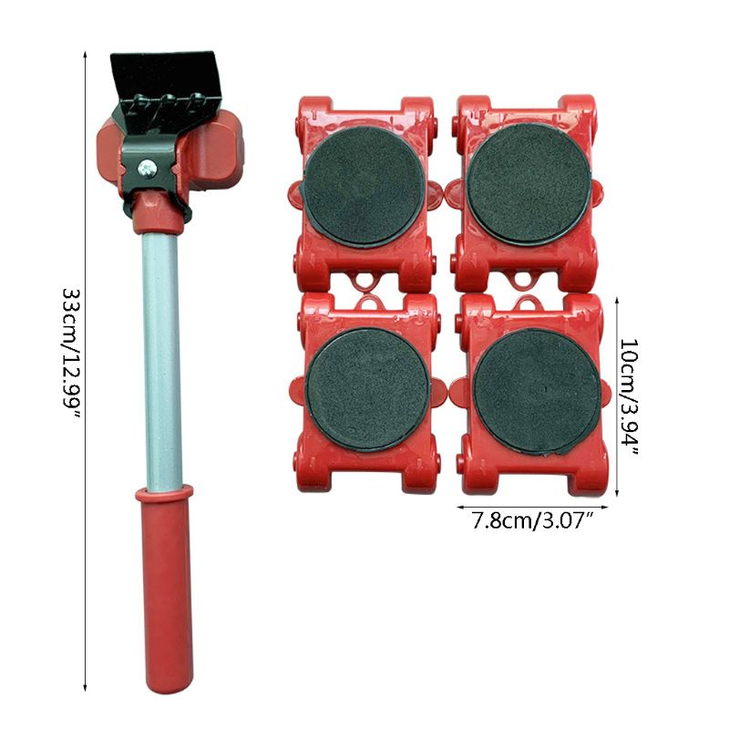 Furniture Mover Tool Transport Lifter Heavy Stuffs Moving 4 Wheeled Roller with 1 Bar Set-1