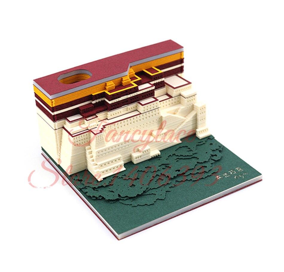 Bloc de construction d'art bricolage 3D Potala Palace mémo Notes tampons autocollants de commodité papiers carte artisanat d'art pour cadeau d'anniversaire de mariage