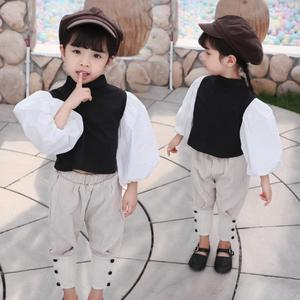 Image 3 - Baby girls Puff sleeve black shirts spring autumn new cotton cute tops for children toddler blouses kids outerwear ws1092