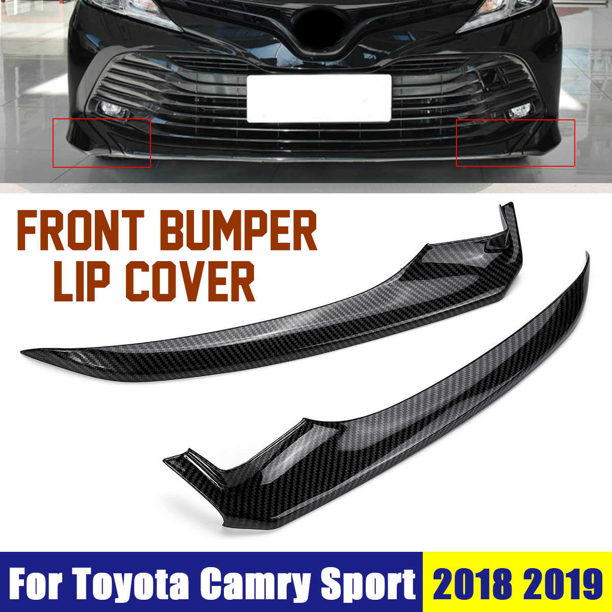OEM Carbon Fiber Front Bumper Lip Corner Cover Trim For Toyota Camry 2018 !