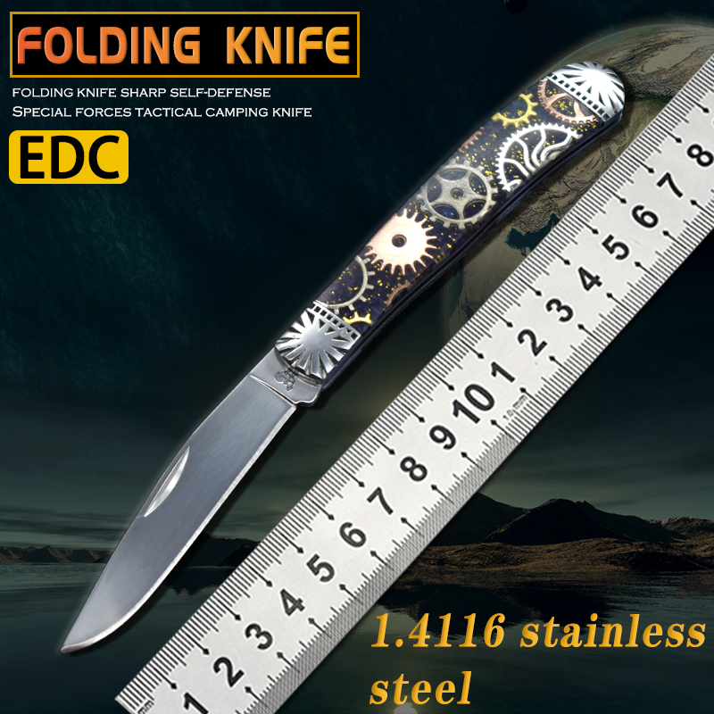 Folding knife pocket self-defense saber high hardness outdoor rescue camping hunting cutting survival portable multifunctional