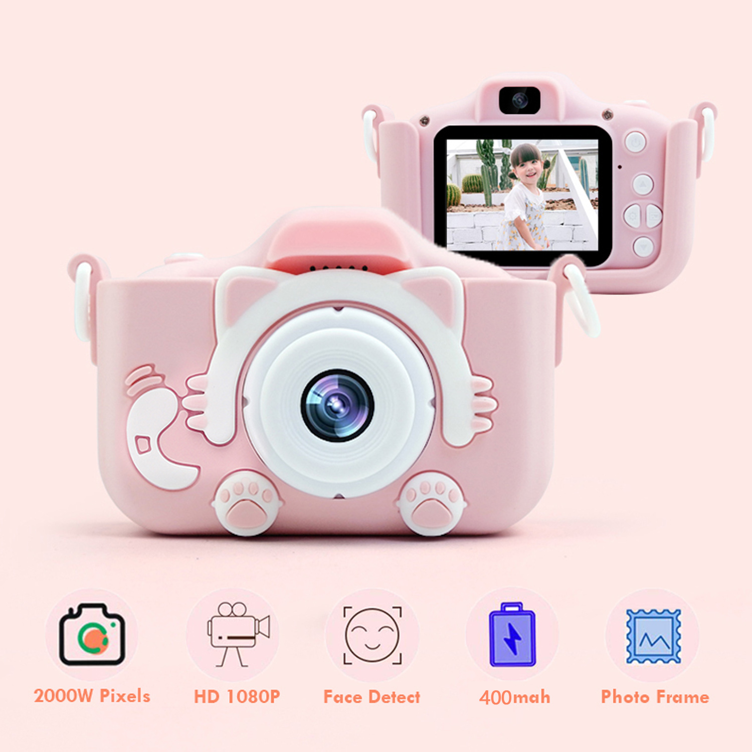 1080P 2000W Mini Cute Kids Digital Camcorder Video Camera Toys Built-in Games for Children Toddler Christmas Birthday Gifts