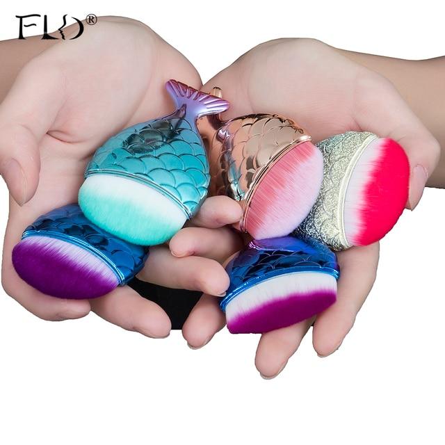 FLD 1Pcs Professional Mermaid Shape Makeup Brush Foundation Cosmetic Fish Brush Makeup Tools Kit Powder Face Blush Brush 2