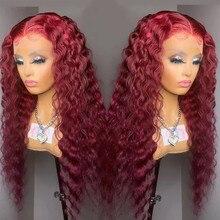 Borgonha 99j frente do laço perucas de cabelo humano kinky curly 13x4 perucas de renda para o cabelo humano feminino