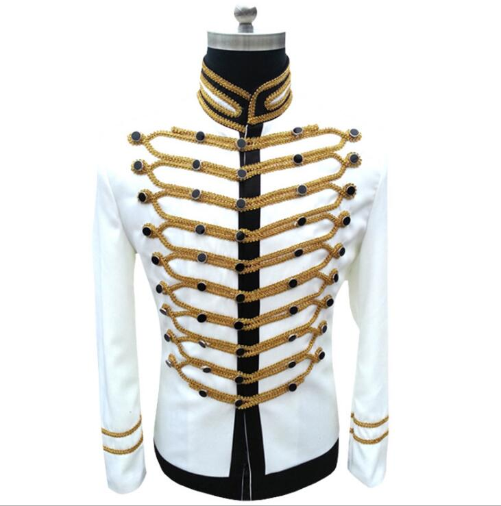 PYJTRL Men Slim Fit Jackets Fashion Military Black White Gold Silver Suit Jacket Blazer Single Breasted Drama Stage Costume